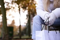 female, arms, gloves, shopping bag, outdoor, cut o