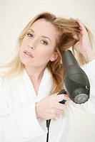 Young, woman, sitting, blow, drying, hair, care, m (thumbnail)
