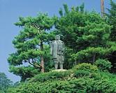Kenshin bronze statue, Joetsu, Niigata, Japan