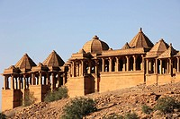 India, Rajasthan, Thar Desert, Bada Bagh, royal cenotaphs