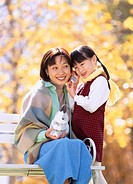 Mother, Daoughter, Autumn, Child, Japan