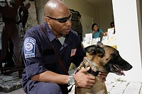 Florida, Miami, Temple Israel, Bow_Wow Palooza Interfaith Blessing of the Animals, owner, dog, canine, FEMA, Urban Search and Rescue, Black, man, offi...