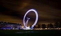 A long exposure image of the London Eye situated on the South Bank by the River Thames.