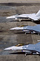 F/A-18 Hornet (top) and two F-16 Fighting Falcon. U.S. Air Force