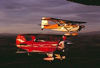 Pitts S-2A aerobatic sport aircraft (in foreground) and Decathlon light airplane