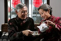 Chinese mature couple drinking tea