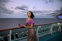 Chinese Woman In Evening Wear Relax On The Board