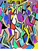 Race runners, 2006, Diana Ong b.1940/Chinese_American Computer Graphics
