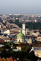 Lviv,Lvov,cityscape from Vysoky Zamok High Castle fortress,Dominicain church,Town Hall,Western Ukraine