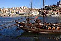 'Rabelos' Port wine carring barges, Douro river, Porto, Portugal