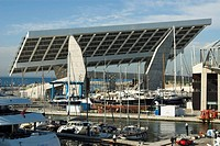 Spain  Barcelona  Forum harbor  Plate photovoltaic