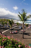 The volcanic beach of Puerto Cruz Teneriffa Canary islands Spain