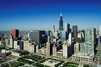 Chicago skyscrapers facing Millenium Park, Illinois, USA, America