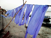Clothesline by Ganges river, Varanasi, Uttar Pradesh, India