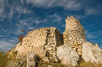 Italy, Abruzzo, Calascio  Ruined castle, Rocca Calascio, built in the 1400's overlooks the landscape of the Gran Sasso National Park