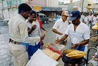geography / travel, Dominican Republic, Santo Domingo, street scenes, customers at street stand, Central America, bread, pancake, food, street scene, ...