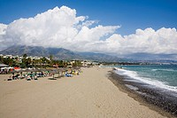 Puerto Banus beach near Marbella, Malaga, Andalucia, Spain, Europe