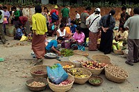 geography / travel, Bhutan, Wangdue Phodrang, markets, people on market, South Asia, fruits, vegetables, basket, shopping, food, trade,