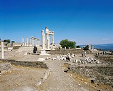 geography / travel, Turkey, Pergamon, buildings, Akropolis, Trajan Temple, columns, restored, Asia, ancient world, ruin, architecture, column,