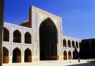 geography / travel, Iran, Esfahan, mosques, Masdjid_e Imam Mosque, exterior view, detail: West Ivan with wooden Goldasteh, Asia, Near East, Orient, ar...