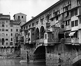 geography / travel, Italy, cities, Florence, city views / cityscapes, bridges, Ponte Vecchio, 1960s, Europa, Tuscany, 20th century, architecture, brid...