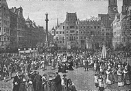 religion, chritianty, ecclesial feasts, Corpus Christi, procession on Munich Schrannenplatz in the 18th century, wood engraving after painting by Ludw...