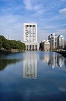 Dai_ichi Seimei Building and Palace moat, Hibya, Tokyo, Japan
