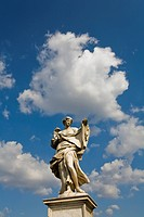 Statue of an angel designed by 17th_century sculptor Gian Lorenzo Bernini decorates the Sant'Angelo Bridge, Rome, Italy