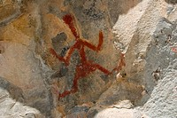 Pictographs on rock, Gila Cliff Dwellings National Monument, New Mexico