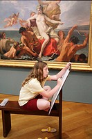 girl sketching in room for that purpose at Getty Center, Los Angeles, CA