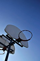 Basketball Net on a Clear Blue Evening Sky.