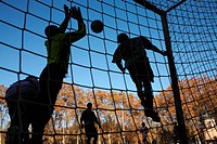Football in La Devesa park, Girona. Catalonia, Spain