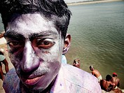 'Holi' the Festival of Colours, Varanasi, Uttar Pradesh, India