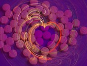 Tablets of low_dose aspirin, which is often prescribed for people who have had a heart attack or other cardiac event, seen in a heart shaped opening i...