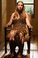 movie, The Wicker Man, USA 2006, director: Neil LaBute, scene with: Hanah DuBois, horror, full length, sitting, bees, bees,