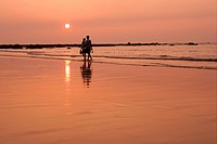 Couple walking at beach under sunset, Taipei