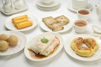 Hong Kong style dishes with two cups of tea