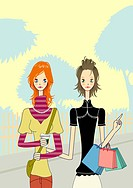 Young women shopping together with bags in hands