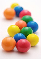 Close view of colorful gumballs