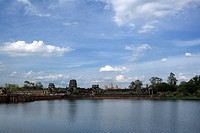 Reflections in water of the temple of Angkor Wat at Siem Reap, Cambodia, Asia
