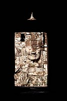 Cambodia, Angkor Thom, Bayon Temple, stone sculpture of face