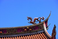 Rooftop of classic Chinese architecture against blue sky