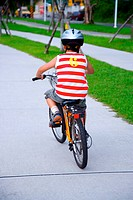 Boy riding bicycle with helmet on road, rear view