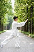 Mature man practicing Tai Chi on footpath