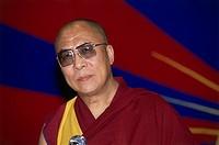 Dalai Lama 14th Tenzin Gyatso, * 6.7.1935, Tibetan lama and politician, portrait, SOS Children`s Villages, New Delhi, India, March 1991, birth name: L...
