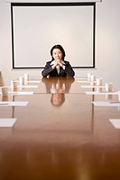 Businesswoman sitting at conference table, portrait