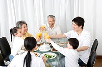 Three generation family eating meal and toasting