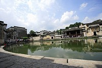 Half_moon pond, Hongcun village, Anhui Province, China, Asia