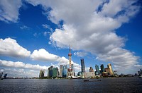 China, Shanghai, View of Pudong and river Huangpu under sky