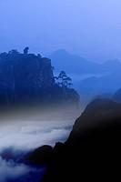 Monkey standing on a peak, gazing downwards, Mt Huangshan, digitally enhanced